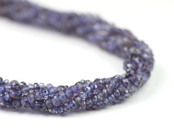 Iolite Micro Faceted Rondelles Set of 20 Ink Blue Semi Precious Gemstone Bridal