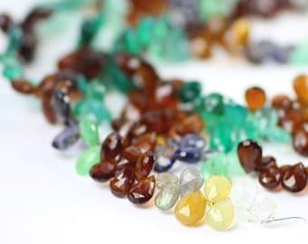Multi Gemstone Micro Faceted Pear Briolettes Half Strand of Grey White Red Green Yellow Blue Semi Precious Gemstones