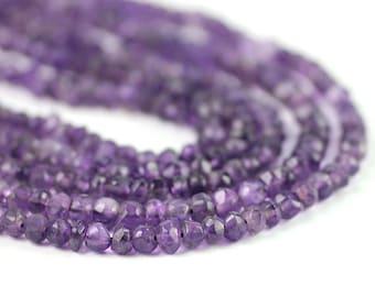 Amethyst Hand Faceted Rondelles Full Strand Grape Purple Semi Precious Gemstone