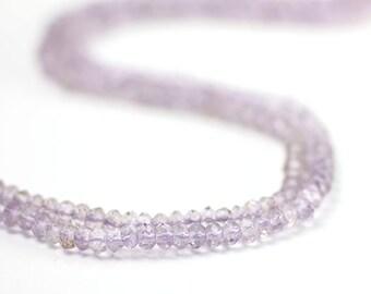 Pink Amethyst Micro Faceted Rondelles 20 Pale Lavender Purple Semi Precious Gemstone