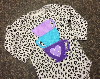 Whimsical Tea Cups Baby Onesie (ONE OF A KIND)