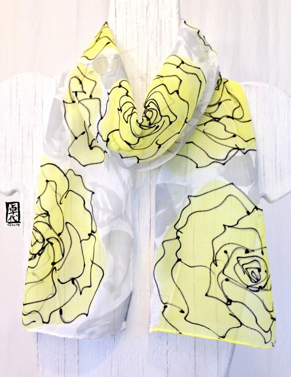 Silk Scarf Handpainted, Yellow Floral Scarf, Lemon Yellow Roses Scarf, Silk Scarves Takuyo, 8x54 inches, Made to order..