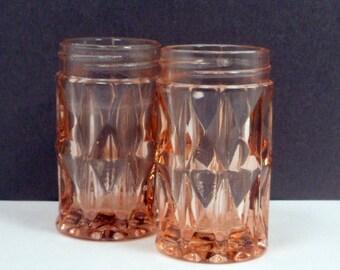 Sale Salt Pepper Shakers Pink Glass Windsor Diamond Jeannette Depression Glass Vintage 1940s