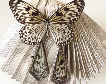 Real butterfly wing necklace rice paper butterfly diamond shaped pendant