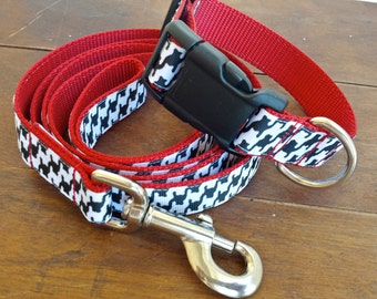 Fancy Dog Collar and Leash Set In Large Houndstooth Print