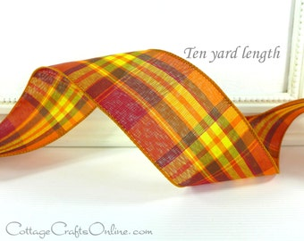 "Wired Ribbon 2 1/2""  Fall Plaid Orange, Yellow, Brown, Red - TEN YARDS -  ""Abundance"" Tartan Craft Wire Edged Ribbon"