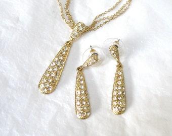 Multi Chain Rhinestone Necklace Earring Set, Pierced Ears,Teardrop Pendant, clear rhinestones, triple chains, gift idea, Excellent