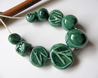 Forest Green Beads Stoneware Clay (9)