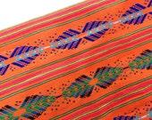 Orange Mexican Fabric -  Aztec Pattern - Cambaya - Tribal - One Yard Home Decor
