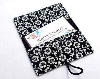 Black & White Flowers Fabric Mini Wallet - with Button and Closure. Business Card Holder, Credit Card Wallet, Small Wallet.