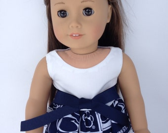 18 inch Doll Dress of Penn State Univesity block fabric/white top, made to fit 18 inch dolls such as American Girl and similar 18 inch dolls