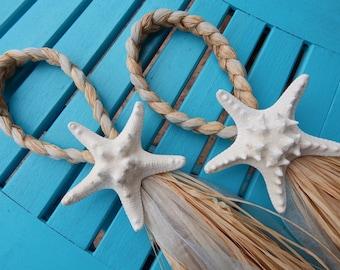 Knobby Starfish Chair Hangers, Beach Pew Bow, Beach Aisle Decorations, Destination Wedding, White Starfish, Beach Wedding