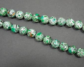 Green Mosaic Gemstone Choker, Sterling Silver Lobster Clasp, Green Choker, Green Jewelry, Mosaic Beads, Mosaic Necklace, Gemstone Beads...