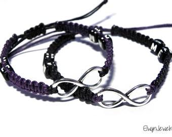 Infinity Bracelets, Couple Bracelets, Relationship Bracelets, His Hers Bracelets, Friendship Bracelets, Cord Bracelets, Long Distance Gift