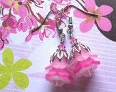 Pink Flower, Make Your Own Earrings Kit, DIY Earring Kit, Do It Yourself Jewelry, Bead Kit, Beginner Kit, Beaders Gift, Jewelry Maker Kit