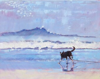"""Art Print.  Border Collie Dog Grace Encounters a Wave .  Open Edition Print of Original Impressionist Painting. 8"""" x 8"""""""