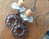 Handmade Earrings - Rustic - Industrial - Artisan  - Patina  - Steampunk - Rusty Gold -  Mixed Metal