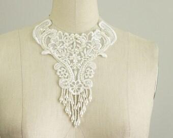 White Floral Beaded Fringe Venice Lace Applique Collar / Bridal Applique / Venetian Lace / Organza Neckline / Wedding Dress Applique