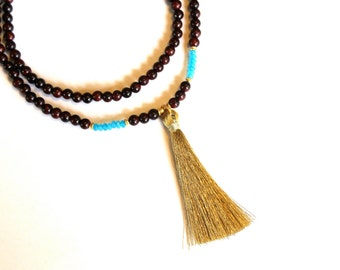 Blue JADE and Rosewood golden tassel mala necklace