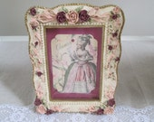Marie Antoinette rose picture resin rose picture frame shabby French style burgundy and pink roses and ribbons Marie Antoinette tag picture