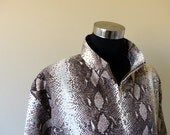 SALE 80s 90s Windbreaker Track Jacket Snakeskin Python Metallic Boho Chic Glam Zip Up Jacket Coat  / GORGEOUS /  M L