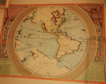 """Vintage Map , """"The New World"""" map , P. Vincenzo Maria Coronelli , Rand McNally reproduction"""