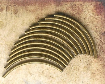 38mm Curved Antique Brass Plated Tubes- 12 pieces