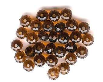 30pc-4x6mm Faceted Smoked Topaz Crystal Rondell Beads, Brown Abacus, 6mm Crystal Rondell, 6mm Faceted Brown Spacer, 6mm Brown Topaz Bead