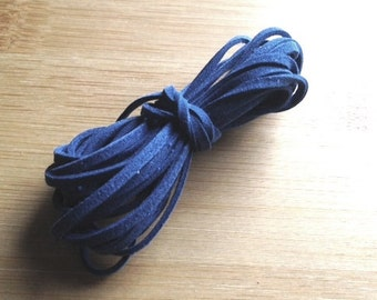 3 Yard Section, 3mm Navy Blue Suede, Suede Leather Cord, Denim Blue Suede, 3mm Dark Blue Thong Lace, Ultra Micro Fiber Suede