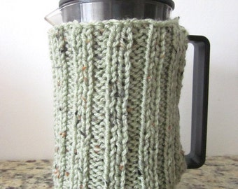 Knitted Tweed French Press Warmer, Cozy, Cover, 5 colors available