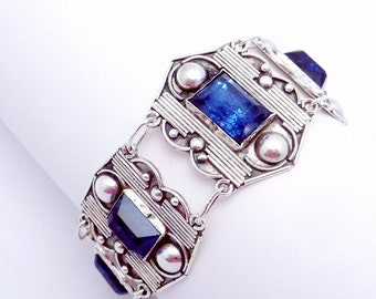 Vintage 1930s Taxco Mexico Mexican Sterling Silver Blue Glass Bracelet 19660