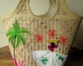 Straw Tote Bag woven raffia beach bag vintage 60s basket bag hand stitching handcrafted boho ethnic hippie festival Puerto Rico