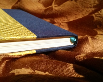 Handmade, One-of-a-Kind Blue, Yellow, and Gold Blank Journal/Sketchbook - M020