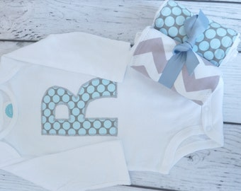Initial Bodysuit and Burp Cloth Set: Gray and Blue Polka Dots