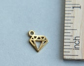 24K gold plated sterling silver charm, Tiny Diamond Charm, Gold plated Diamond Charm, Tattoo Charm, Outline Diamond Charm, 8mm ( 1 piece )