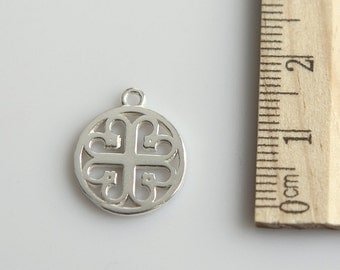 Filigree Circle Charm, 925 Sterling Silver Charm, Sterling Silver Charm, Sterling Silver Pendant, 14mm ( 1 piece )