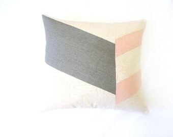 Color Block Chevron Pillow Cover/Grey/Blush Pink/Cream/Modern/Minimalistic/Stylish Accent Pillow/New Collection/Zigazag Studio Design