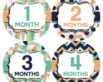 FREE GIFT, Baby Month Sticker, Baby Month Sticker Gender Neutral, Baby Month Sticker Girl, Baby Month Sticker Boy, Tribal, Monthly Milestone
