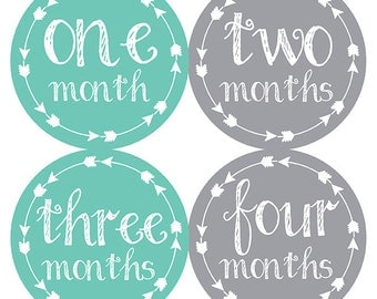 FREE GIFT, Gender Neutral Baby Shower Gift, Tribal Gender Neutral Month Stickers, Monthly Baby Stickers, Baby Month Stickers, Gender Neutral