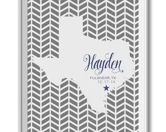 50 State Print Nursery, Texas State Nursery Print , State Nursery Art, Baby Birth State, Baby Announcement, Name, Birth Date
