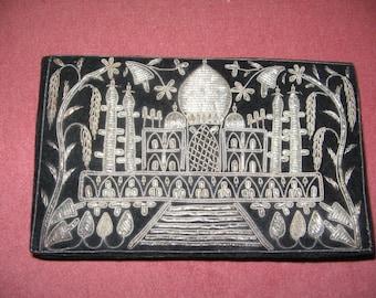 VINTAGE BEADED CLUTCH Purse, Taj Mahal Velvet Evening Bag