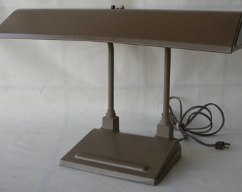 vintage metal desk lamp, task light, brown paint, office decor, from Diz Has Neat Stuff