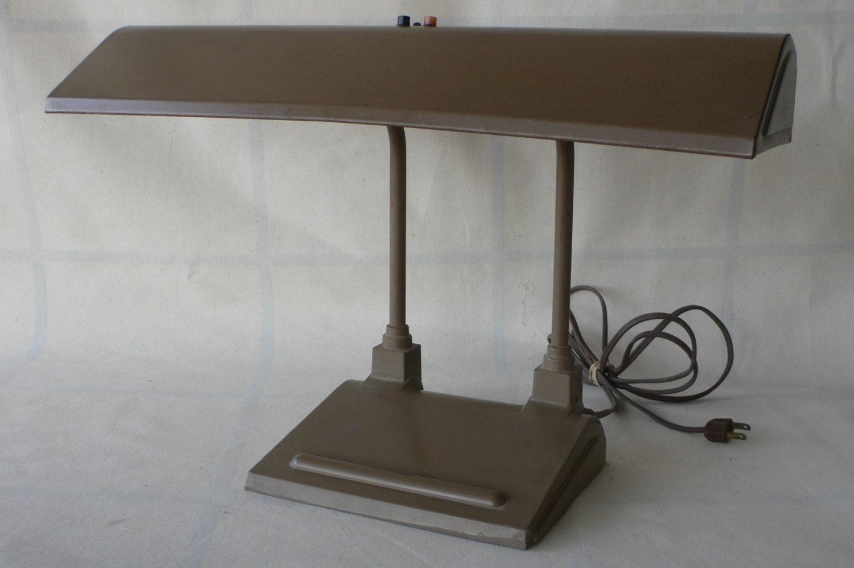 vintage metal desk lamp task light brown paint office. Black Bedroom Furniture Sets. Home Design Ideas