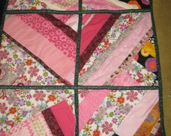 Reduced Price - Handmade Girls Crazy Quilt - 39 x 26