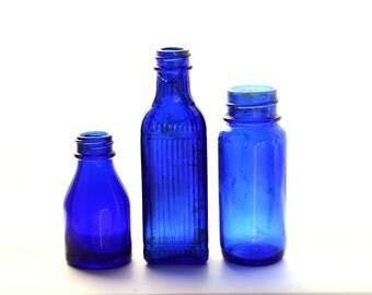 Vintage cobalt blue medicine bottles, blue bottles