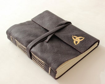 Purple Leather Journal Sketchbook with Gilded Triquetra