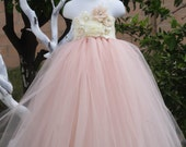 Reserved listing for Erin:  2 Blush Vintage with Ivory Flowers TuTu Dress in size 24m and 6