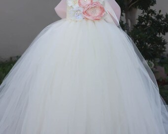 Reserved listing for Regina: Blush Pink and Ivory Flower Girl TuTu Dress in size 8 with headband and a bow