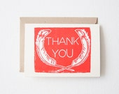 Feather Thank You cards, 4bar, block printed card