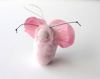 Pink fairy baby ornament flower fairy waldorf doll FP1